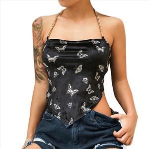 Fashion Women Chain Around Slash Neck Butterfly Print Bellyband Short Tank Top Drop Shipping Good Quality