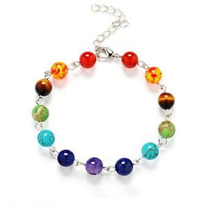 DIEZI Natural Stone Beads Crystal 7 Chakra Bracelet For Women Braided Chain Bead Bracelets Reiki Spiritual Yoga Jewelry