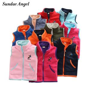 Sundae Angel Vest For Girl Waistcoat Stand collar Children Vest For Boy Embroidery Donkey Pattern Polar Fleece Outerwear Coats 201110