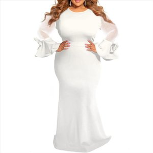 Plus Size Dresses for Women 4xl 5xl 6xl Sheer Mesh Long Sleeve Elegant African Ladies Wedding Evening Party Long Maxi Dress Robe