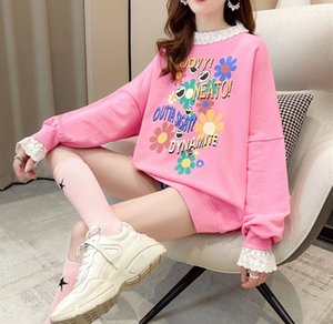 2020 Spring Oversized Teenager Girls Sweatshirts fashion pullovers lace ladies plus size tops casual ladies korean style streetwear
