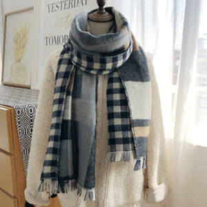 1Fashionable color matching double-sided Plaid cashmere scarf for women's autumn and winter warm Korean version