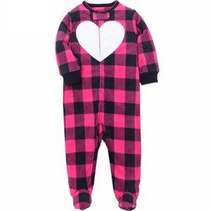 Nouveau Né Baby Vêtements 2021 Jumpsuit à manches longues à manches longues à manches longues Fleece Zipper Unisexe Babies Costume de sommeil 3-12m Plaid hiver 201216