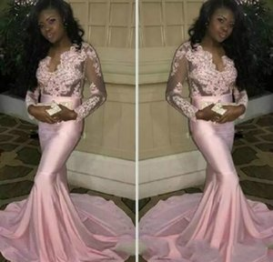2021 Couple Fashion Black Girls Sheer Long Sleeves Prom Dresses Modern Mermaid Appliqued Pink Evening Party Gowns Stretchy Train