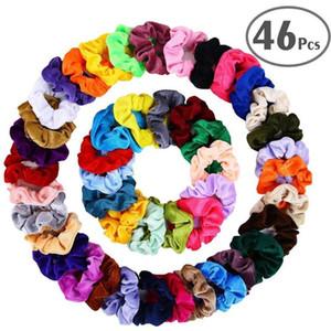 Toptan 46 adet / takım Vintage Saç Scrunchies Sıkı Kadife Scrunchie Paketi Kadın Elastik Saç Bantları Kız Şapkalar Kauçuk Bağları