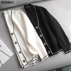 2020 white black solid Sweater cardigans jacket ladies new women thick sweater coat v-neck cardigan jacket coat outwear