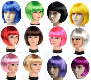 Best Quality Fashionable BOB Style Short Party Wigs Candy Colors Halloween Christmas Short Straight Cosplay Wigs Party Fancy Dress Wigs