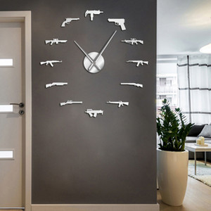 3D Pro Gun Weapons Wall Decor Tactical Army Rifle Ammo Variety Weapons DIY Wall Sticker Large Wall Clock Gun Lovers Room Decor Y1121