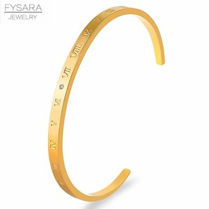 Fysara Open Cuff Bracelets Roman Numeral Women Love Bangle Stainless Steel Thin Bracelets Gold Color Fashion Jewelry Party Gift sqcIvR