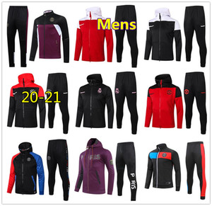 20 21 Hombres Bayern Munich Manchester United Real Madrid PSG chándal de fútbol chaqueta con cremallera sudadera con capucha 2020 2021 soccer zip jacket hoodie chandal futbol
