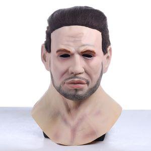 Halloween bonito barba barba jovem máscara atraente stubble queixo masculino cosplay mascarillas láque masques rosto rímel adereços