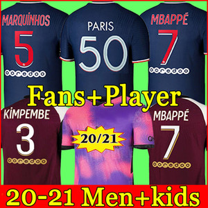 PSG Camiseta de fútbol 20 21 paris saint germain camisetas 2020 2021 MBAPPE NEYMAR JR ICARDI hombres + kit de niños maillot de foot 4th de la soccer jerseys chandal