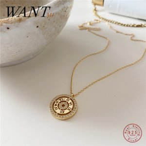WANTME Genuine 100% 925 Sterling Silver Luxury Zircon Clock Watch Roman Numeral Pendant Necklace for Women Jewelry Accessories Z1126