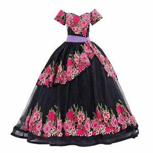 멕시코 Charro Black Quinceanera 숄더 코르 셋 백 달콤한 15 16 드레스 테마 파티 댄스 파티