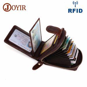 Joyir Card ID Houders Lederen Mannen visitekartjes RFID Portomnee Hoge Capaciteit Portacresco Portacarbi Porta Carta