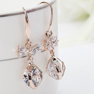 Micro Pave CZ earrings Korean fashion bow pearl hypoallergenic earrings wholesale