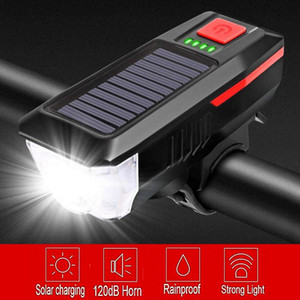 Solar Charging Bicycle Light 3 Modes LED Road Mountain Bike Front Light Waterproof Bicycle Bell USB Rechargeable Headlight