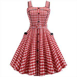 Plaid Print Summer Dress Women Vintage Sleeveless Sexy Spaghetti Strap Pocket Red Elegant Beach Party Mini Dresses Plus Size