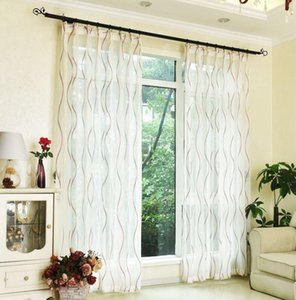 American Stripe Yarn Curtain Window Tulle Curtains For Living Room Kitchen Modern Window Treatments Voile Curtain