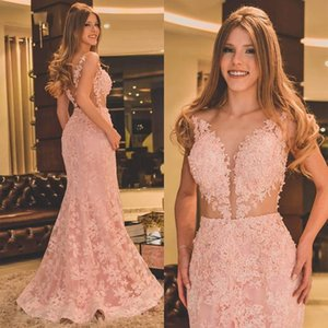 Sexy Pink Plus Size Mermaid Prom Dresses Deep V Neck Beaded Cutway Lace Applique Formal Dress Party Wear Evening Gowns robes de bal