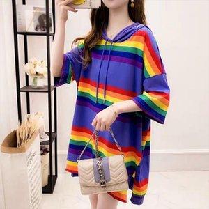 Tshirts Women Rainbow Hooded Pocket Tee Harajuku Stripe Plus Size Block Top Streetwear Women Men Long T Shirt Pullover