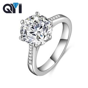 QYI Luxury 4 CT Солитаир Обручальные кольца Круглый RUM 6 PRONG SONA Diamond 925 Стерлинговое серебро SONA Обручальное кольцо для женщин 201218