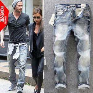 2021 nuevos hombres europeos y estadounidenses lavados de alta gama alta high-gall stretch delgado pequeño jeans rectos