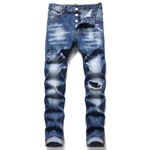 Homens rasgados fino fit jeans moda magro perna reta lavado desgastado motocycle calças jeans calças hip hop estiramento calças masculinas 1088