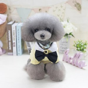 Summer Handsome Pet Tshirt Cute Moustache Pattern Puppy Dog Cats T-shirt With Black Bow Tie For Teddy Dog Clothes