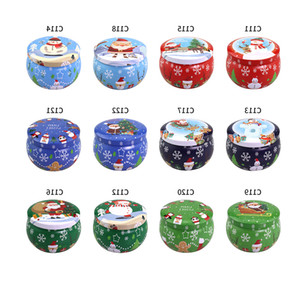 Cute Xmas Tinplate Box Christmas Santa Snowman Elk Print Candy Tea Candle Box Aromatherapy Candle Jar Colorful Xmas Gift Storage Box