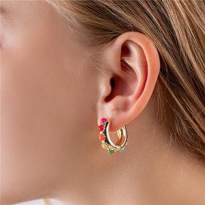 Chiao Modeschmuck Regenbogen Bunte Huggies Perle Hoops Ohrringe für Frauen