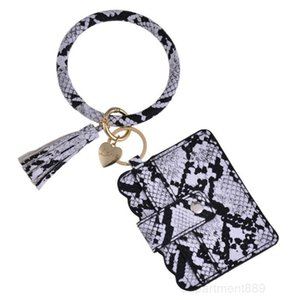25 Colors Tassels Bracelets With Credit Card Wallet Leopard Bracelet Keychain Drip Oil Circle Bangle Chains Wristlet OWD1426