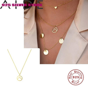 Chaînes Aide 925 Sterling Sterling Style Starfish Starfish Shell Pendentif Zircon Collier Coréen Mode Bijoux