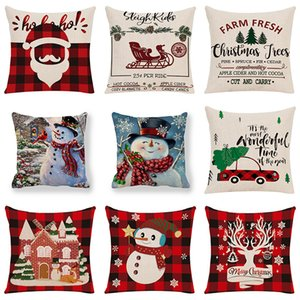 Christmas Pillow Covers Linen Throw Pillow Case Square Sofa Decorative Pillow Cushion Cover Xmas Pillowcase Home Decor 45 styles Z2017