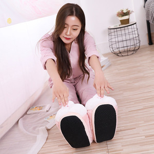 Women Winter Slippers Cute Pink Bunny Cartoon Design Warm Home Plush Head Silent Indoor Floor Adult Girl Lady House Shoes 201203