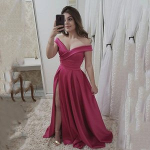 Off Shoulder Split Long Evening Dresses 2021 with Short Sleeves Lace Up Back Satin Sweep Train Fromal Prom Party Gowns