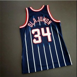Custom 604 Juvenil Mujeres Vintage Hakeem Olajuwon Mitchell Ness 96 97 College Basketball Jersey Tamaño S-4XL o Personalizado Cualquier nombre o Número Jersey