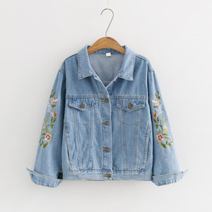Harajuku Denim Jackets Women Casual Loose Floral Embroidery Long Sleeve Cotton Coat Students Patchwork Jean Jacket Mori Girl new1