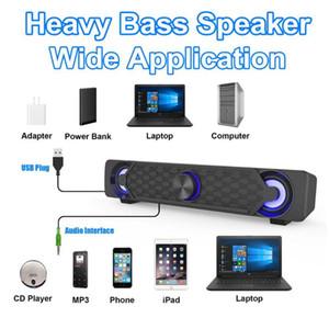 Smalody Computer Speaker 10W HiFi Stereo Subwoofer USB Powered Music Player AUX Soundbar LED Light Effect Speaker PC Smartphone