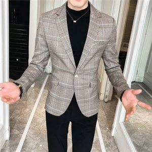 2020 Grigio Autumn Chess Blazer Blazer uomo Blazer Thin Suit Business Wear Homme Attesto vestito come novizio Giacca di verifica maschile BV4W