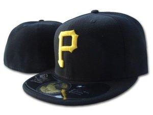 Top-Qualität Pirates angepasste Mützen P Brief Baseballmütze besticktes Team P Briefgröße Flatrand-Hut-Piraten Baseball-Größenkappen zum Verkauf