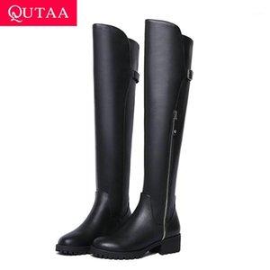 Qutaa 2020 rond bout à bout à bout de mode bouteille à glissière d'hiver Femmes chaussures Cuir Cuir Cuir PU Middle Heel Tous correspondent sur les bottes au genou taille34-391
