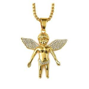 2018 Hombre HiPHOP Jewelry Micro Angel Pieza Collar Charm Color Oro Cadena Hip Hop Bling Joyería Raperos Collier Female Regalos KVIXN