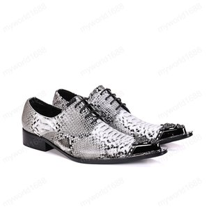 Bullock Carved Metal Pointed Toe Male Genuine Leather Oxfords Shoes Fashion Party Men's Plus Size Brogue Shoes