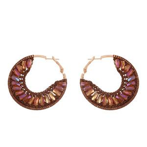 FLOLA Bohemian Beaded Hoop Earrings For Women With Stone Handmade Crystal Earrings Boho Beach Jewelry Oorbellen aretes erss71