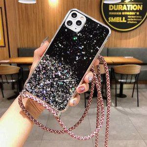 Bling Glitter Sequin Clear Case For iPhone 11 Pro Max XS 2020 X XR 8 7 6 Plus Soft Cover+Shoulder Strap Lanyard Rope