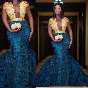Hermoso sudafricano Oro Azul Vestidos Azules Azules Ilusión 2021 Sirena Vestidos de Prom Lacks Encaje Plus Tamaño Vestido Formal Fiesta Vestido De Festa