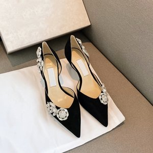 20 new crystal buckle love casual pointy stiletto shoes
