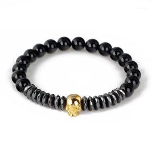 Bracelet crâne Mode Stardole Hommes Femmes Bracelet Haute Qualité Naturelle Noir Black Onyx Beads Bijoux BR0021