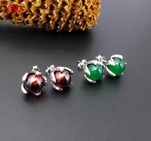 S925 Thai Silver Personality Green Agate Garnet Flower Gem Earrings B1205